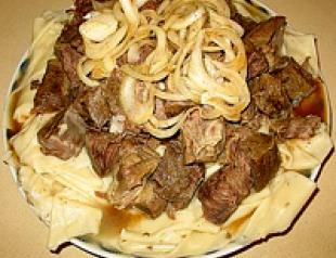 Беспармак (бешпармак) - блюдо казахской кухни