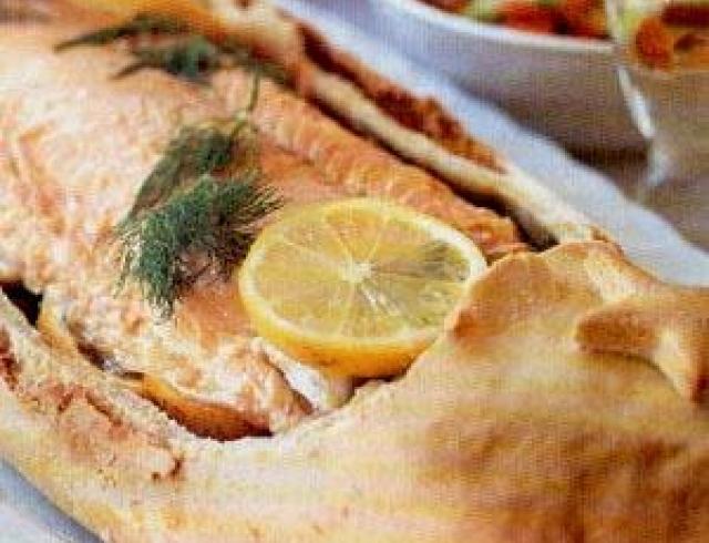 Лосось, запеченный с ореховой корочкой (банкетное блюдо)