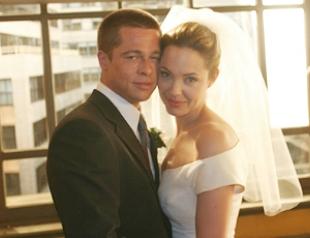 Джоли и Питт в образе жениха и невесты. Фото