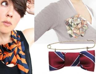 Модная идея: женские украшения из мужских галстуков