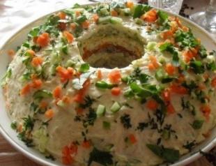 """Салат """"Кольцо"""": рецепт приготовления"""