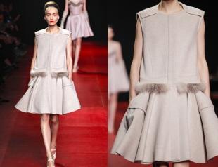 Платье с меховой отделкой от Nina Ricci