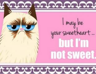 Появилась серия валентинок с Grumpy Cat