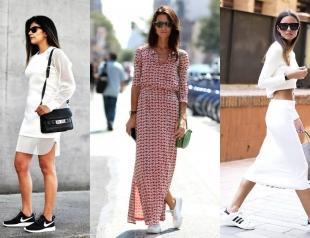 Спорт-шик: как кеды и кроссовки носить с платьями и юбками