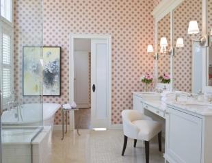 """Обои в ванной комнате: аргументы """"за"""" и """"против"""" (виниловые, стеклообои, жидкие обои, фотообои и пленка ПВХ). ФОТО 30+"""
