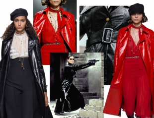 Шпионский шик: кожаные плащи как у Тринити на показе Christian Dior