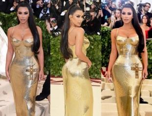 Ким Кардашьян в золотом платье от Versace произвела фурор на Met Gala 2018