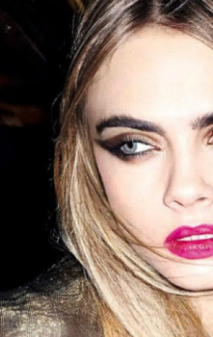 Кара Делевинь демонстрирует праздничный макияж от YSL