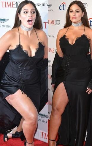 Модель plus-size Эшли Грэм оступилась на красной дорожке, обнажив бедра (ФОТО)