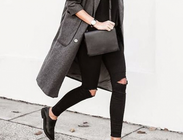 Что носить зимой: серое пальто