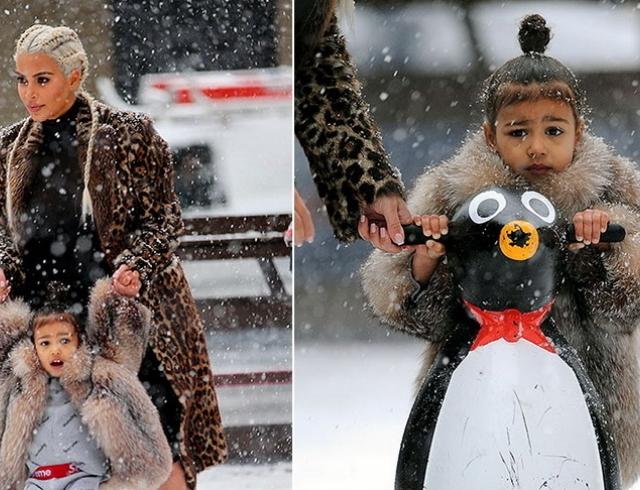 Дочки-матери: Ким Кардашьян покаталась с дочерью на коньках в центре Нью-Йорка