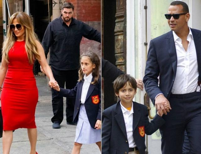Как настоящая семья: Дженнифер Лопес и Алекс Родригес вместе отводят детей в школу
