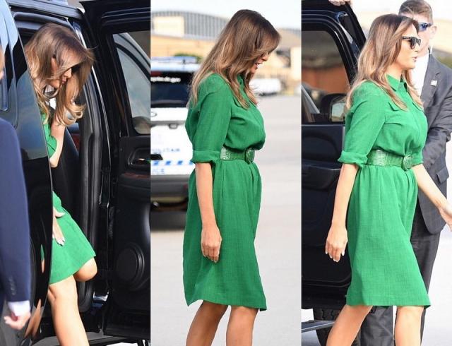 Мелания Трамп прилетела в Западную Вирджинию, покорив роскошным изумрудным платьем (ФОТО)