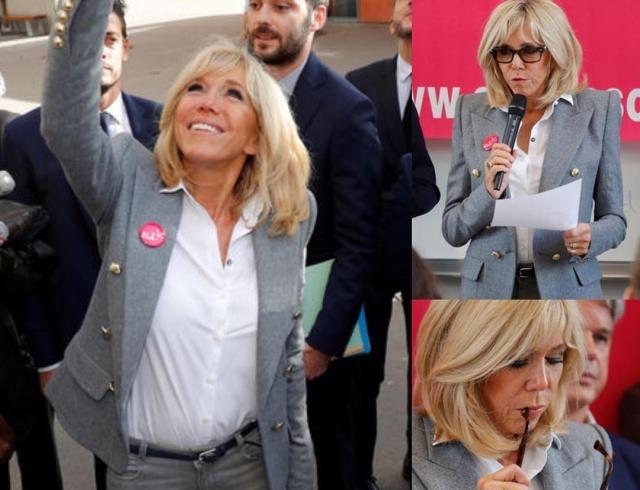 Бриджит Макрон покоряет вкусом: жена президента Франции надела стильный блейзер и джинсы