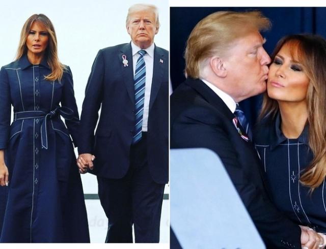 """Чета Трампов посетила открытие мемориала """"Башня голосов"""" в Шэнксвилле: образ первой леди"""